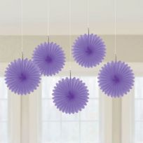 Purple Mini Paper Fans (5)